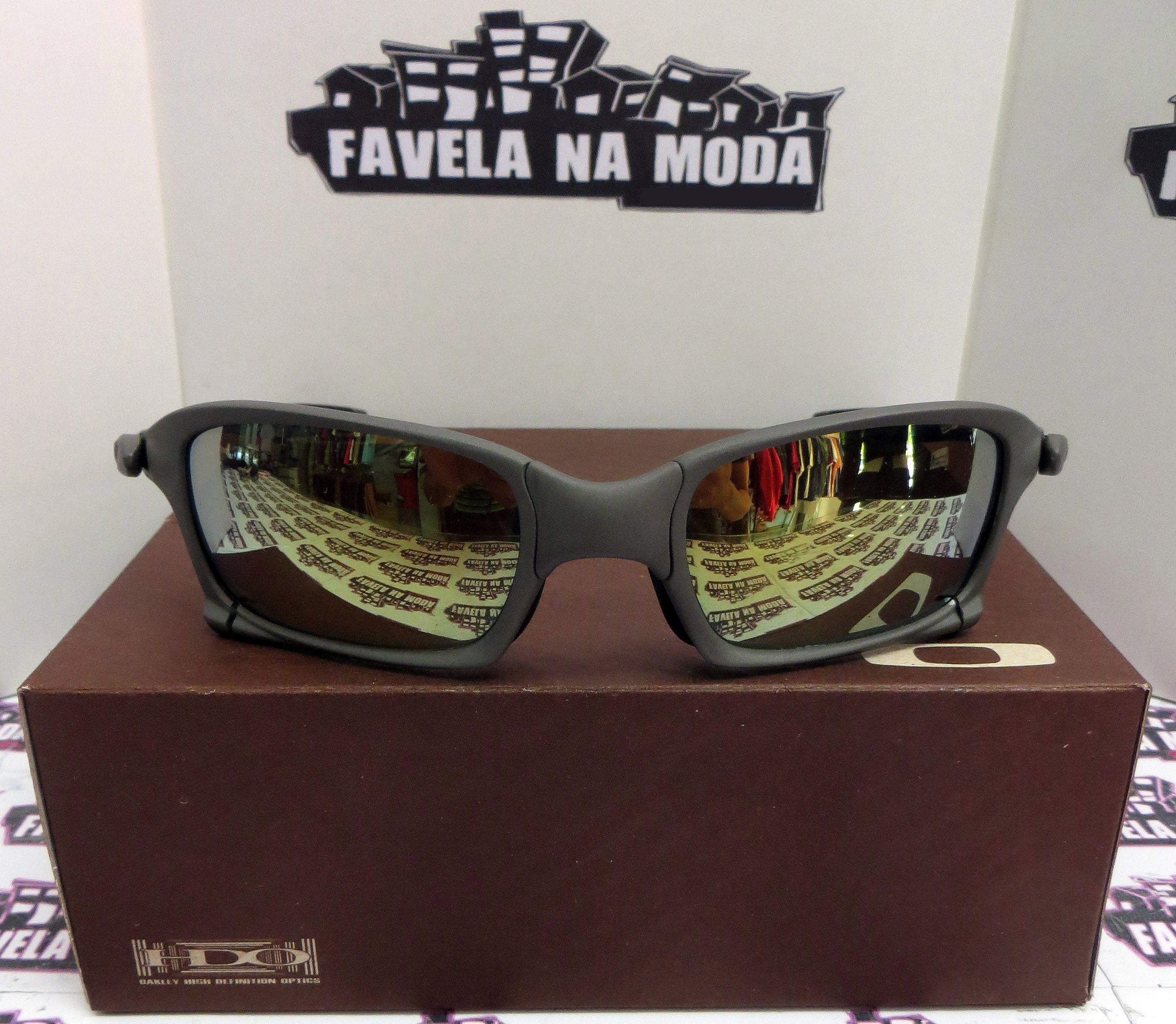 Óculos Oakley X-Squared   X-Metal   Gold   Borrachinhas Pretas - Favela na  Moda Imports ddb6c25421